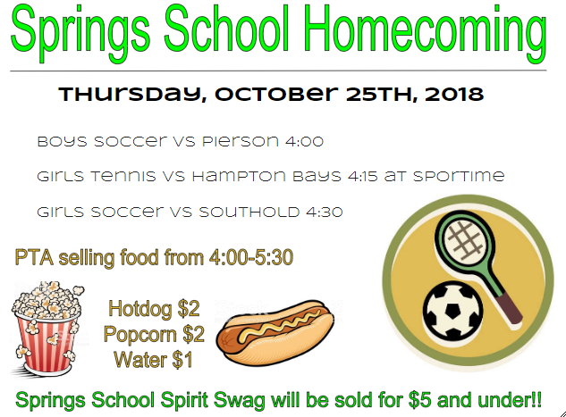 Join Springs School's First Homecoming Celebration: Thursday, October 25.