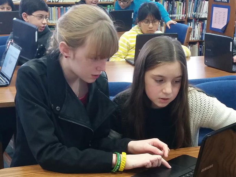 Students Learn Computer Science Skills in Library
