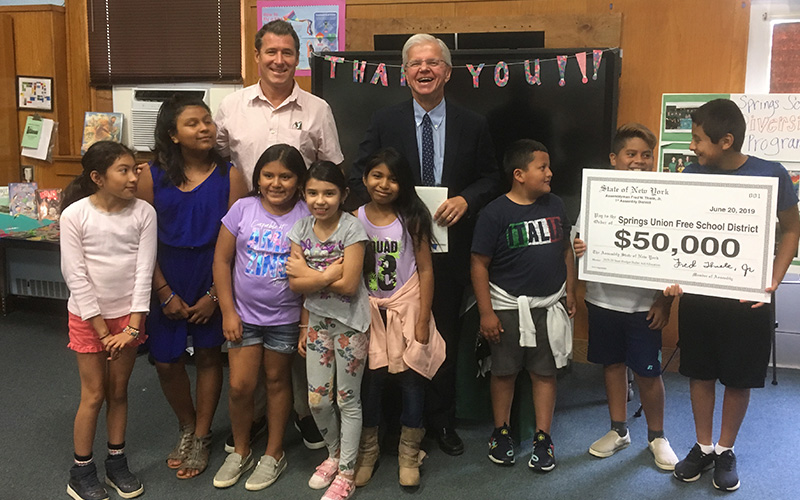 Assemblyman Fred Thiele Announces $50,000 in Bullet Aid for Springs School